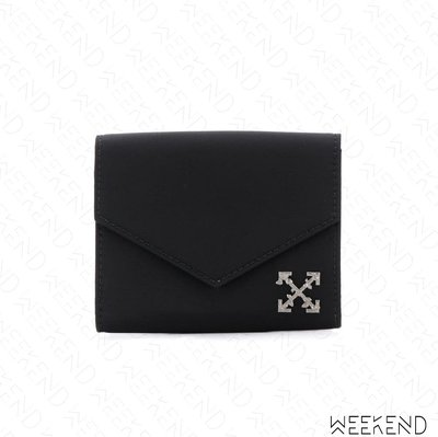 【WEEKEND】 OFF WHITE Logo Cross 皮夾 卡夾 短夾 黑色 19春夏