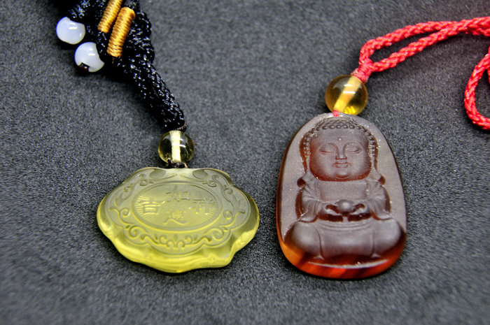 緬甸琥珀 棕紅珀 紫羅蘭珀 金棕珀 金棕珀寶寶佛+金珀寶寶鎖
