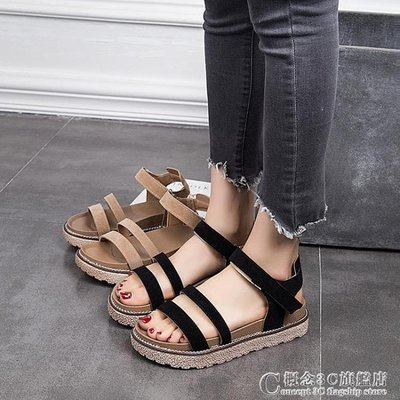 涼鞋女夏韓版百搭平底簡約復古鬆糕厚底學生軟妹鞋子