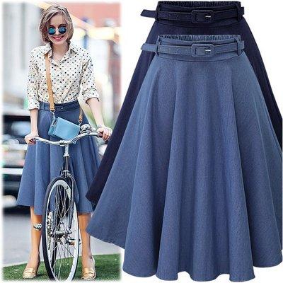 半身裙 A字裙 亞馬遜夏季新款牛仔半身裙 送皮帶MB031A-921   胖胖美依