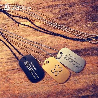 項鍊 歐美個性潮流男士軍牌項鏈鈦鋼珠子鏈83號方牌吊墜女情侶兄弟項鏈生日禮物