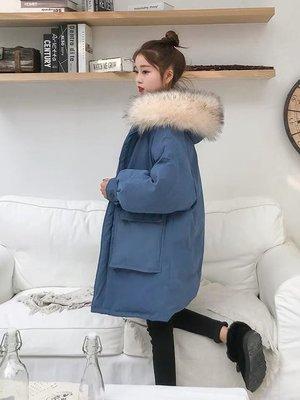 韓國東大門代購超保暖羽絨外套毛領長版大衣棉襖外套連帽大衣連帽外套