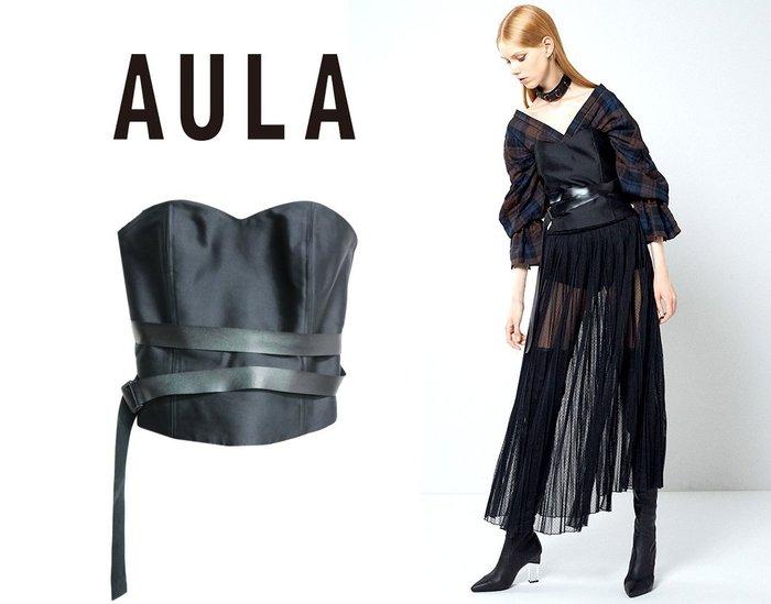 SHINY SPO 獨家代理日本品牌AULA時尚奢華高級蠶絲緞面馬甲式腰封超顯瘦縮腰皮革腰帶設計上衣
