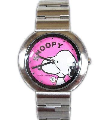 【卡漫迷】 史奴比 手錶 粉 日期功能 ㊣版 不鏽鋼 強化水晶玻璃 史努比 男錶 女錶 卡通錶 Snoopy 六折出清