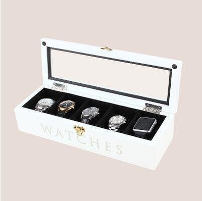 【優上】實木質 帶鎖手錶盒首飾收納盒收藏盒展示儲物盒「5位錶盒 雪山白色」