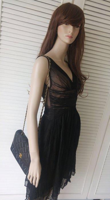BCBG 黑色純絲透膚希臘女神洋裝