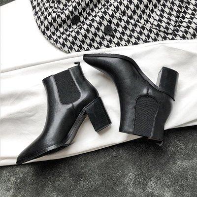 女靴內增高女靴白色女靴子潮牌女靴大尺碼女靴精品女靴大叔家冬季新款短靴女粗跟馬丁靴百搭彈力靴尖頭切爾西短靴女