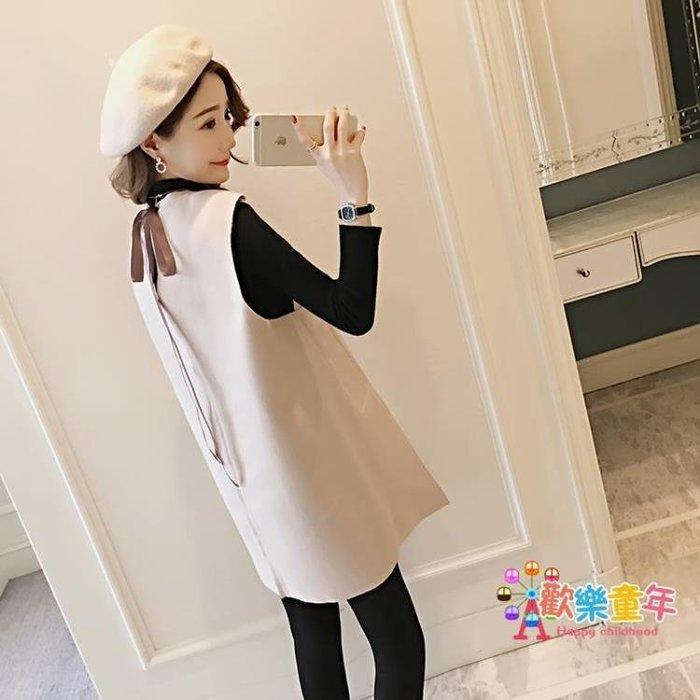 秋季孕婦秋裝套裝時尚款2018新秋冬版長袖蝴蝶結背帶裙毛衣兩件套