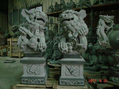 『石夫的家』石雕石獅景觀擺飾茶盤石桌石椅之青斗石石獅