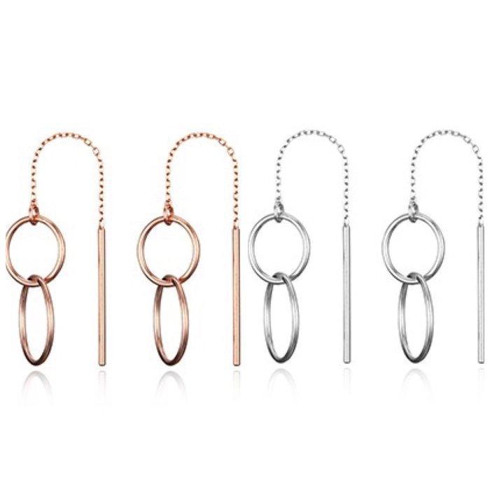 【韓Lin連線代購】韓國 HAESOO.L 海秀兒 -YUE3982 925銀 設計師款雙環垂墜造型耳環