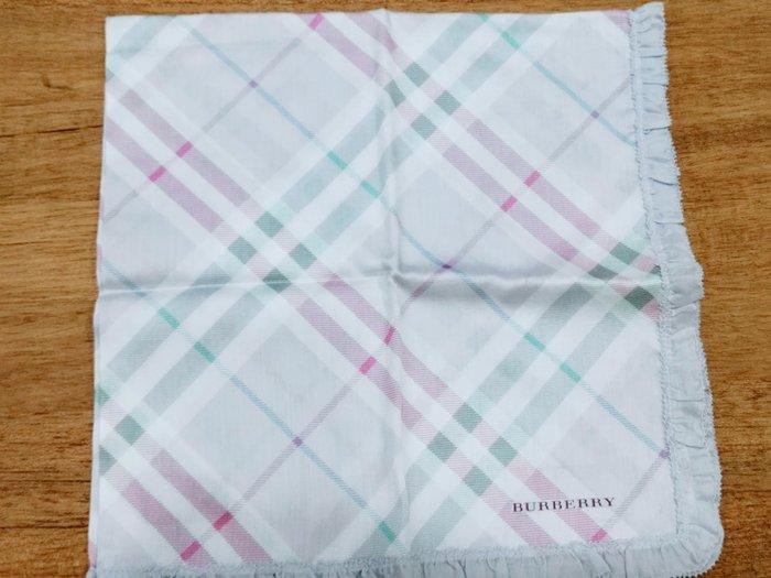 【姐只賣真貨】BURBERRY 格紋滾邊時尚仕女領巾手帕 (淺綠色)情人節首選禮物