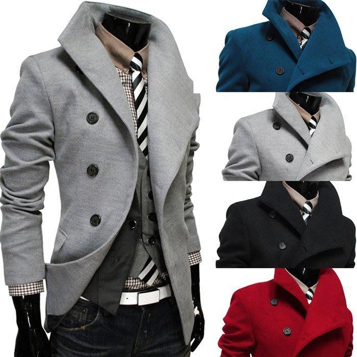 『潮范』 W08 新款斜門襟單排扣大翻領 男士毛呢大衣 棉質立領外套 夾克風衣外套 長大衣NRB2569