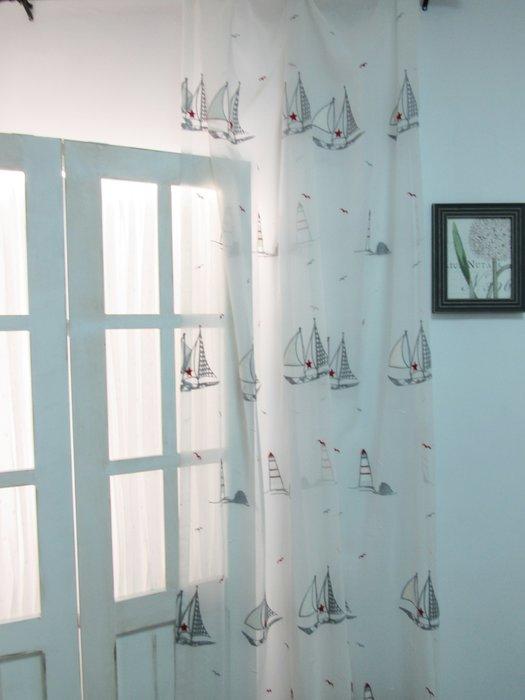 [W080]窗簾 窗紗  No.453海洋帆船燈塔刺繡紗  特價出清  無接縫紗 童趣 海軍風 兒童