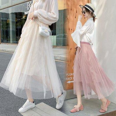 半身裙 連身裙 春夏新款不規則女半身裙荷葉邊網紗蓬蓬裙長裙仙女百褶裙