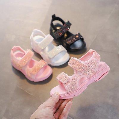 女童涼鞋夏季新款韓版女孩防滑亮片沙灘鞋中大童學生休閑涼鞋