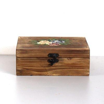 橙子的店 仿古做舊全實木帶蓋子的木盒 ...