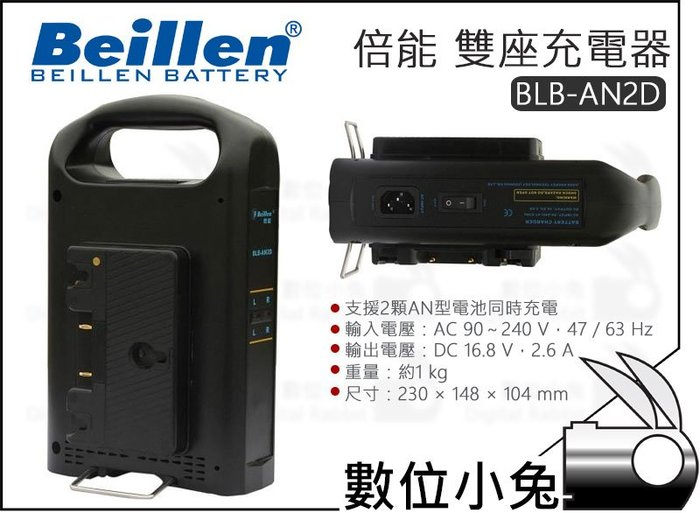 數位小兔【Beillen BLB-AN2D 倍能 雙座充電器】鋰電池 安頓型 充電器 國際牌