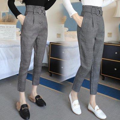 新款時尚哈倫褲女九分褲高腰顯瘦格子褲英倫風西裝小腳蘿卜褲
