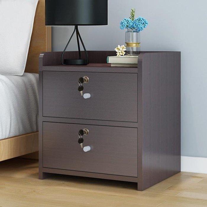 簡易床頭櫃簡約現代儲物櫃以內臥室帶鎖床頭收納櫃經濟型 全館免運