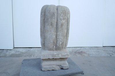 【一(藝)窩】清代 瓜菱紋石墩~石灰岩