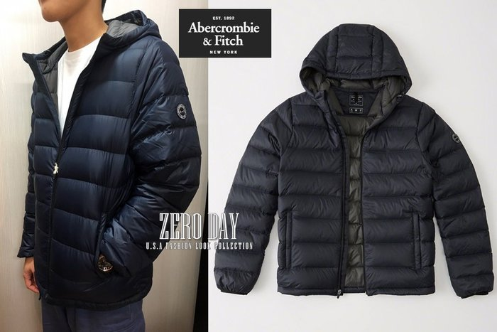 A&F真品Abercrombie&Fitch Lightweight Hooded Puffer Jacket羽絨外套藍