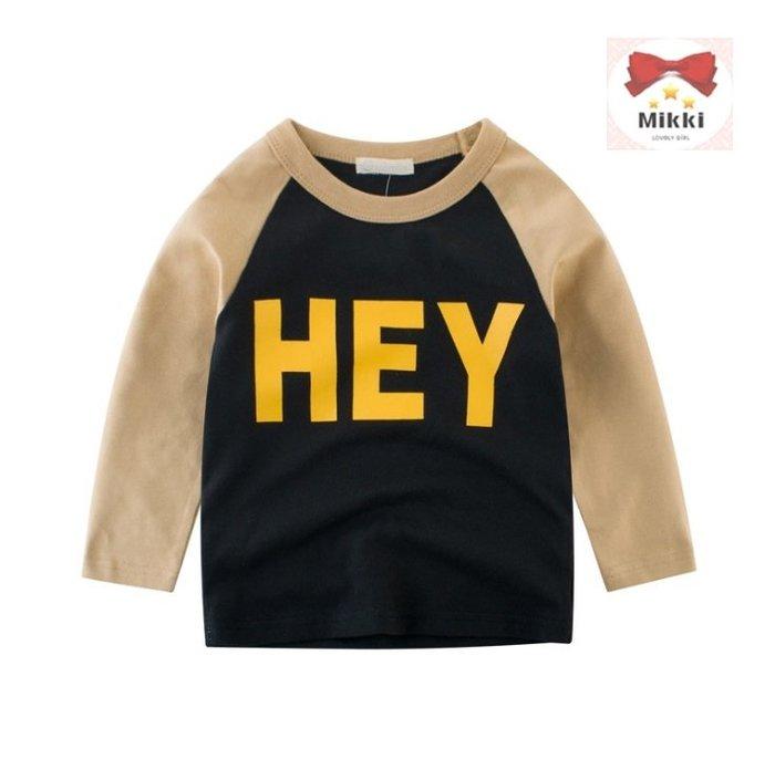 Mikki 早秋新品 男童HEY 配色棒球長袖T恤 簡單好穿搭 純棉 ~BT8371~
