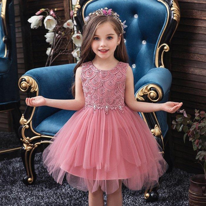 •*~ 辣媽咪衣飾小舖 ~*•❤童裝系列❤K970501韓版大童夏款甜美清新時尚蓬蓬蕾絲亮片可愛公主禮服公主洋裝