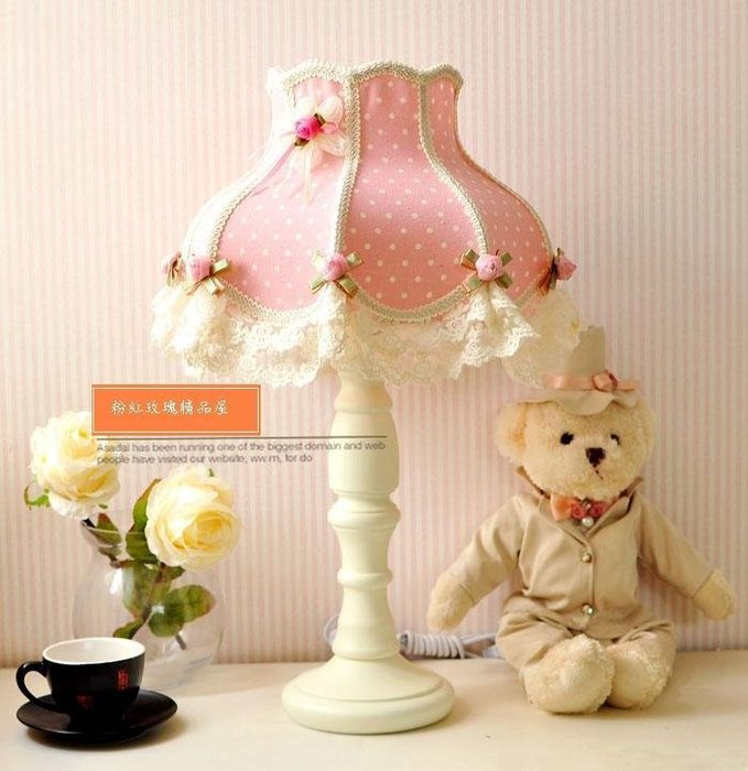 粉紅玫瑰精品屋~粉色點點布藝粉紅花蕾絲公主枱燈~