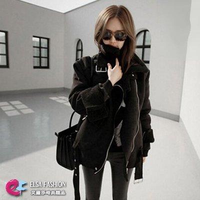 短大衣機車外套 暖棉質感時尚百搭羊羔毛外套 艾爾莎【TAK4632】