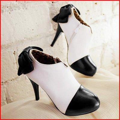 靴【A12519】百變女伶拼接擦色復古蝴蝶結高跟裸靴~2色~