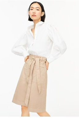 J. Crew Button-up chino skirt with removable belt限時折扣