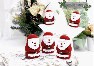 水晶珠寶翡翠 首飾盒戒指盒 聖誕老人 項鍊首飾盒 卡通植绒盒