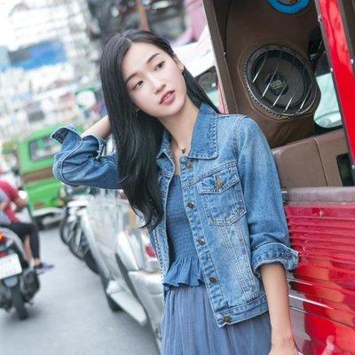 韓版短款修身牛仔外套女 學生港味小清新夾克上衣秋冬