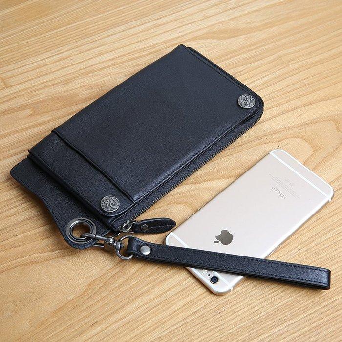~Linda~真皮男士錢包卡包一體包女多卡位牛皮手包長款拉鍊皮夾青年手機包