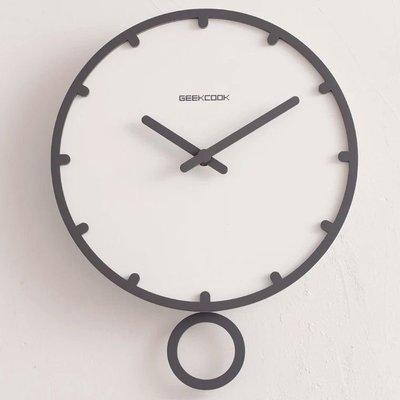 14寸北歐個性創意掛鐘臥室家用鐘錶簡約現代石英鐘客廳靜音時鐘1228元