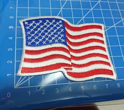 刺繡臂章-waving us flay white border-白邊飄揚美國國旗37🇺🇸