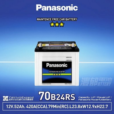 『灃郁電池』Panasonic 國際牌汽車電池 免保養 70B24RS(46B24RS)加強版
