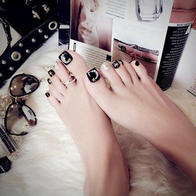 成品美甲24片盒裝 黑色假指甲 腳趾甲 星星腳指甲貼片J58