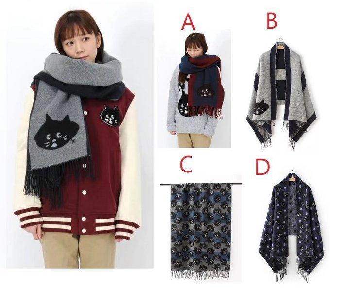 │遇見。小舖│B80114 日本 Ne-net 圍巾 披肩 黑貓 大圍巾 暖呼呼 大頭貓 貓咪 貓臉
