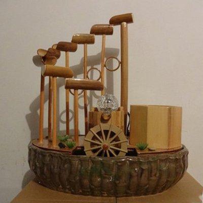 5Cgo【宅神】含稅會員有優惠 36939460585 真竹工藝品流水噴泉加濕器盆景擺件風水輪創意家居裝飾竹流水臥室書