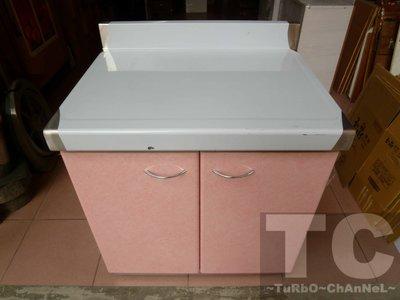 流理台【72公分工作平台】台面&櫃體不鏽鋼 粉紅線條門板 最新款流理臺