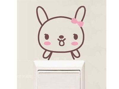 壁貼工場-可超取 小號壁貼 牆貼 貼紙 開關貼- 組合貼 HK5-353 兔