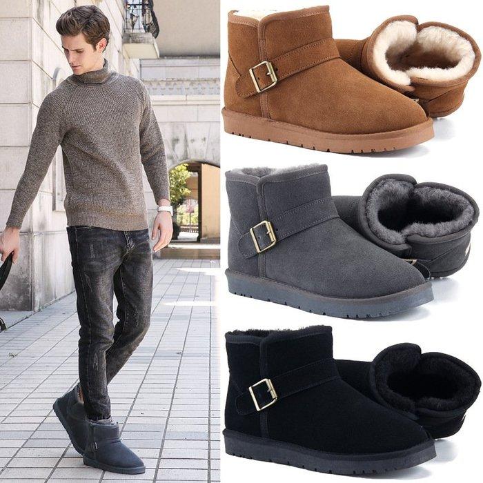【熱門款】2018冬 經典 皮帶扣 真皮女士雪地靴男士牛皮羊毛短筒靴子 防潑水日常