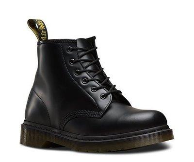 Dr.Martens 馬丁鞋馬汀鞋 101 6孔  黑色 硬皮【 BRITISH LOOK 】