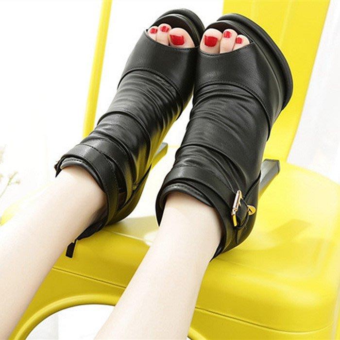 ~Linda~新款百搭超高跟魚嘴鞋女防水台高跟鞋坡跟涼鞋厚底粗跟女鞋