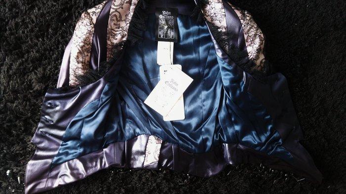 前迪奧Dior CD 設計師John Galliano 藍黑蕾絲黑珠寶墜飾西裝背心式短外套