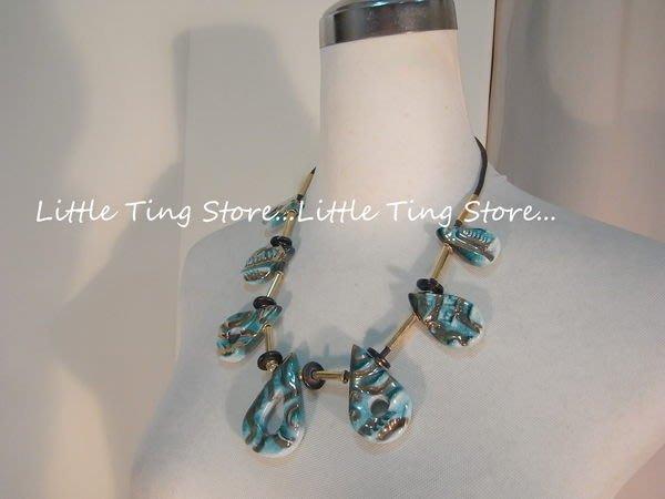 義大利古董珠寶情人節禮物手工陶瓷墜飾 古銅金嬉皮民族繞頸皮繩短項鍊 鎖骨鏈