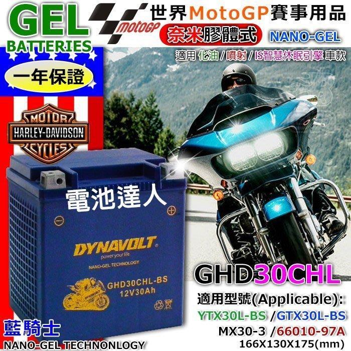 【鋐瑞電池】GHD30CHL-BS YTX30L GTX30L DYNAVOLT 藍騎士 機車電池 水上摩托車 哈雷重機