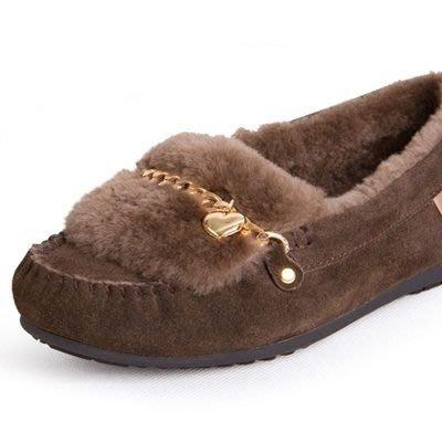 豆豆鞋羊毛絨平底鞋-休閒鞋秋冬防滑真皮女鞋子4色72o3[獨家進口][米蘭精品]
