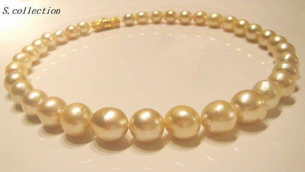 Scarlette Collection【名品館】展覽級極稀有天然金色 巴洛克南洋珍珠項鍊12.5-9MM